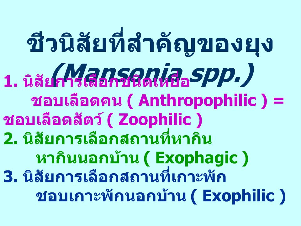 ชีวนิสัยที่สำคัญของยุง (Mansonia spp.)
