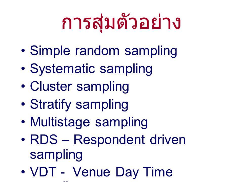 การสุ่มตัวอย่าง Simple random sampling Systematic sampling