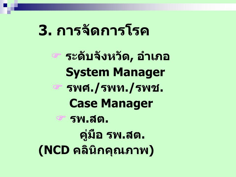 3. การจัดการโรค  ระดับจังหวัด, อำเภอ System Manager  รพศ./รพท./รพช.