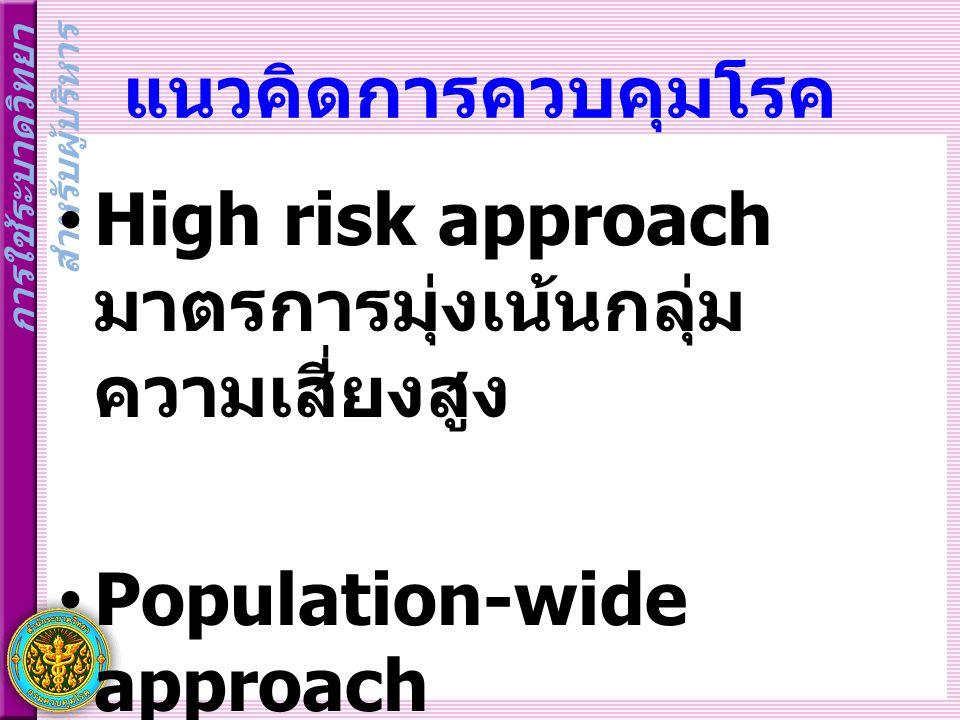 แนวคิดการควบคุมโรค High risk approach มาตรการมุ่งเน้นกลุ่มความเสี่ยงสูง.