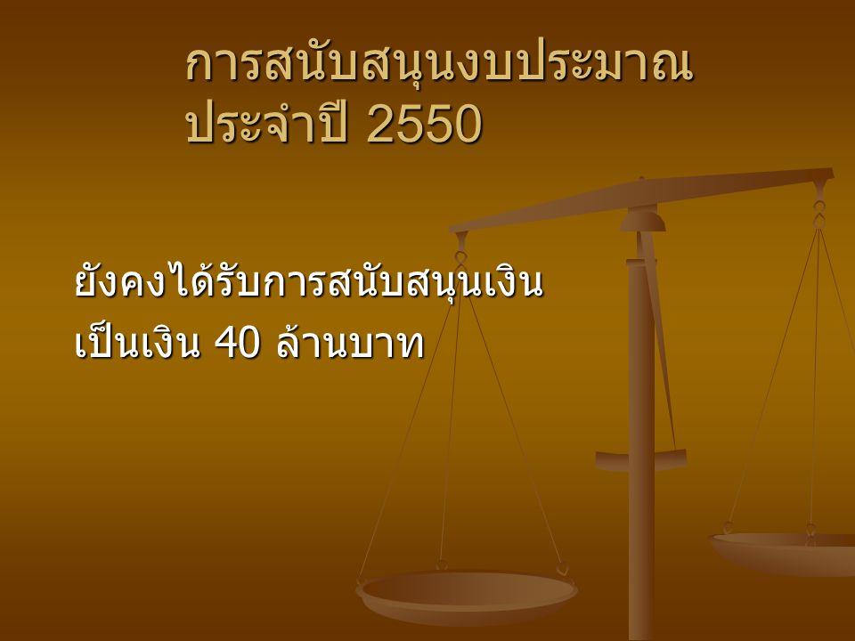 การสนับสนุนงบประมาณประจำปี 2550
