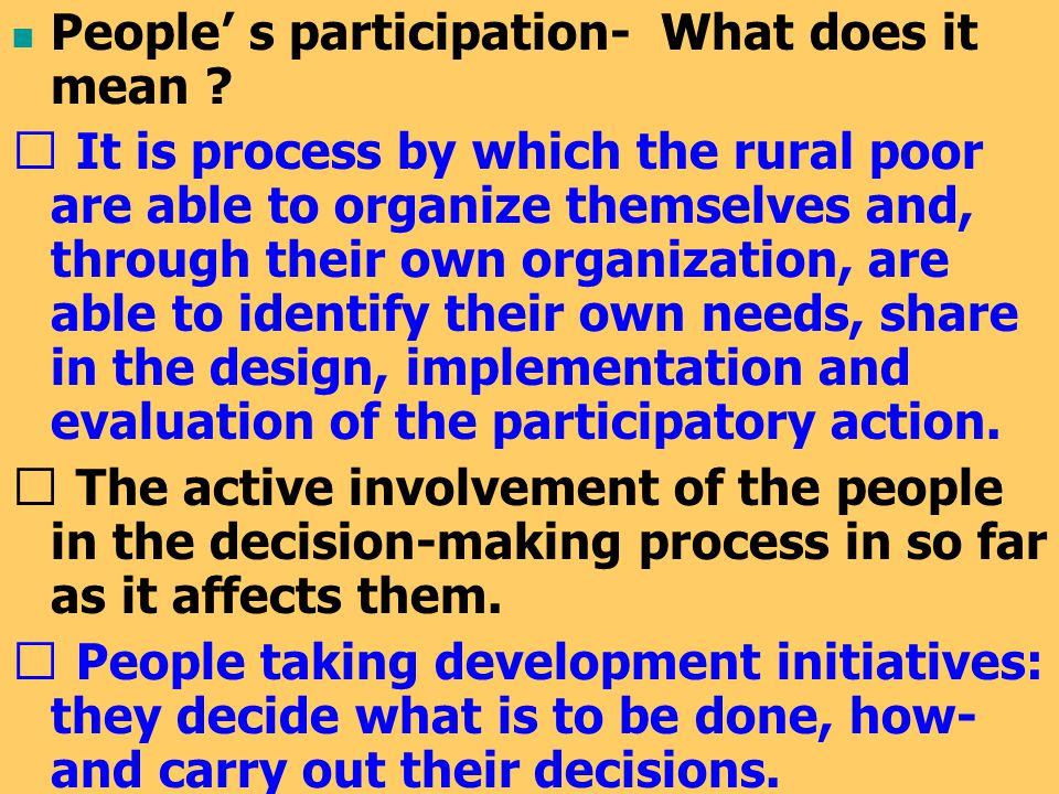 People' s participation- What does it mean