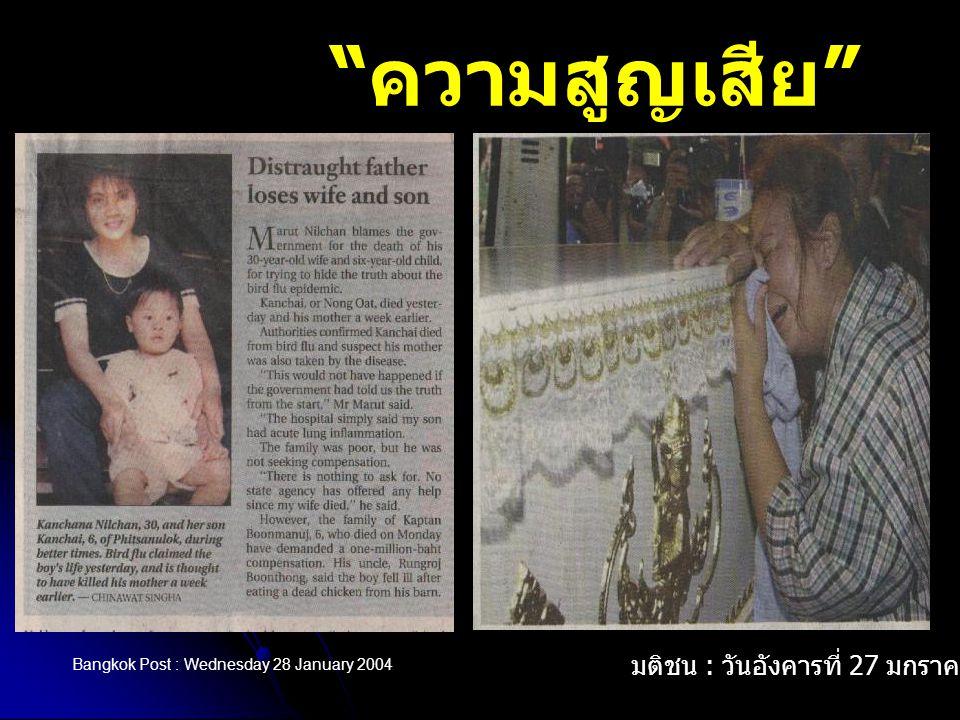 ความสูญเสีย มติชน : วันอังคารที่ 27 มกราคม 2547
