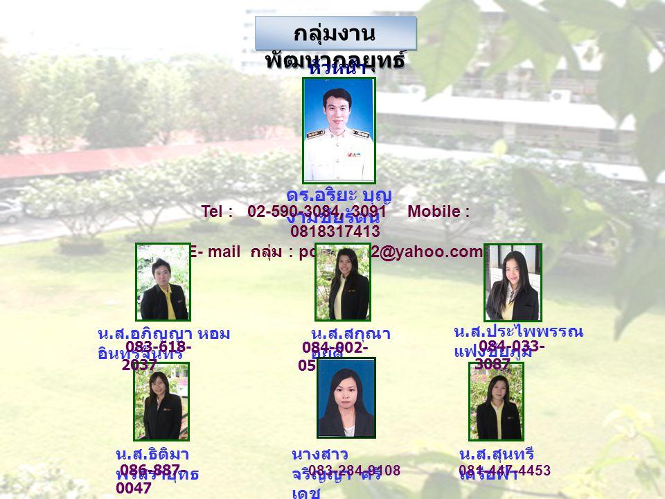 กลุ่มงานพัฒนากลยุทธ์ E- mail กลุ่ม : potisi2002@yahoo.com