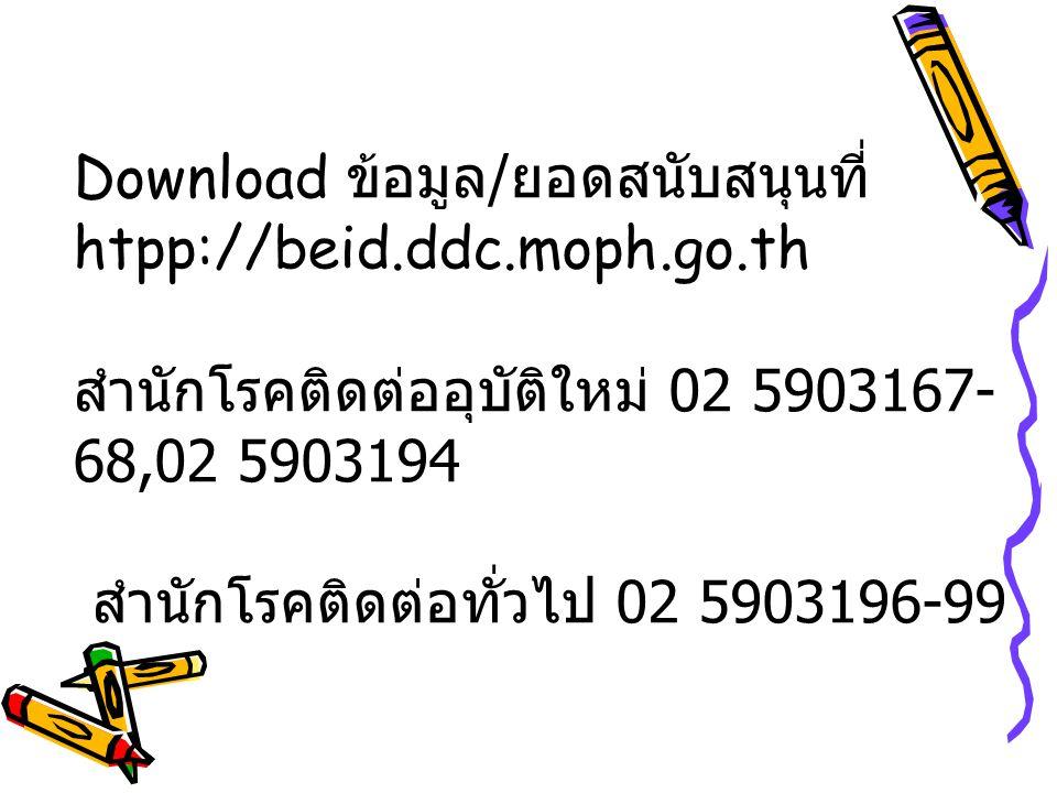 Download ข้อมูล/ยอดสนับสนุนที่ htpp://beid. ddc. moph. go
