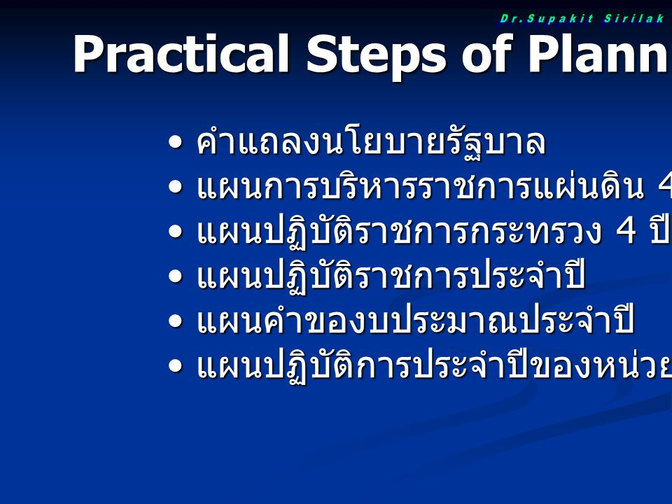 Practical Steps of Planning