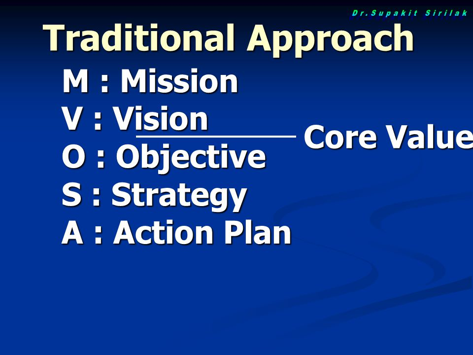 Traditional Approach M : Mission V : Vision O : Objective S : Strategy