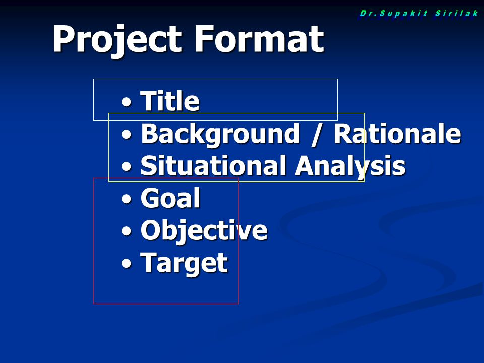 Project Format Title Background / Rationale Situational Analysis Goal