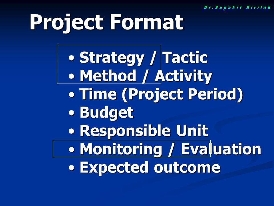 Project Format Strategy / Tactic Method / Activity