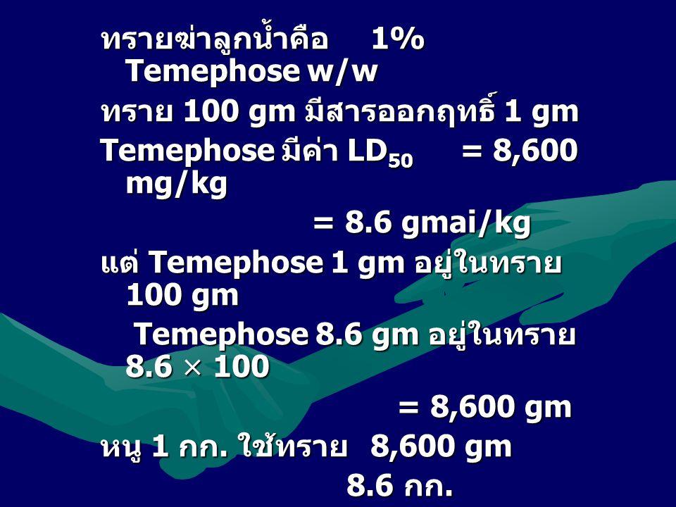 ทรายฆ่าลูกน้ำคือ 1% Temephose w/w