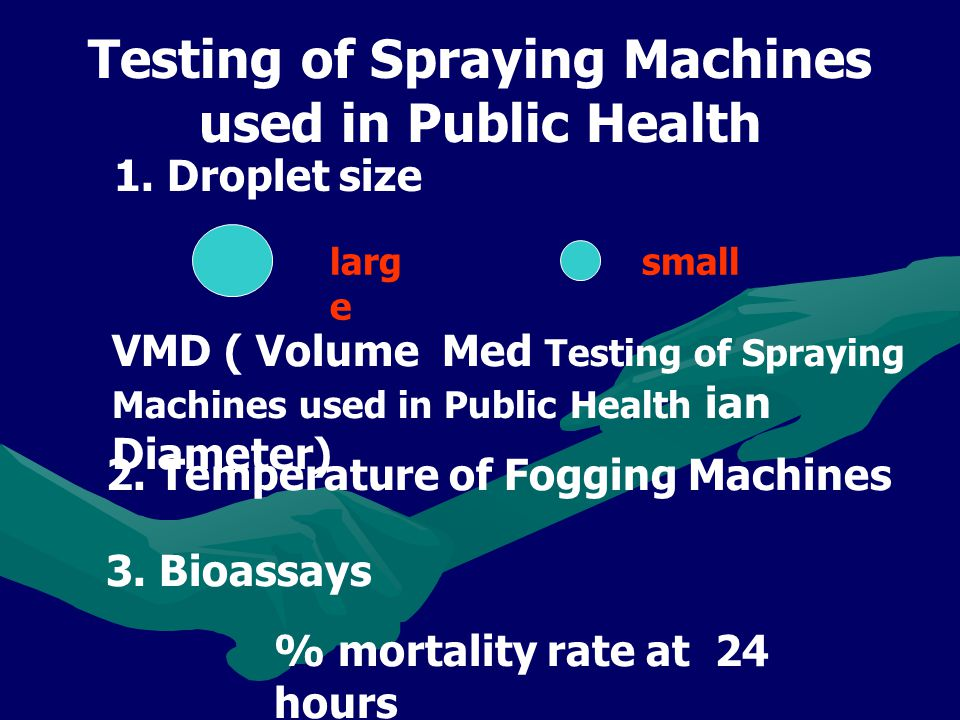 Testing of Spraying Machines used in Public Health