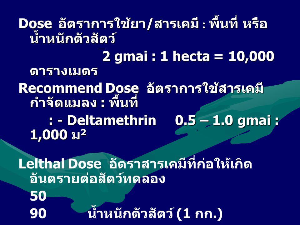 Dose อัตราการใช้ยา/สารเคมี : พื้นที่ หรือน้ำหนักตัวสัตว์