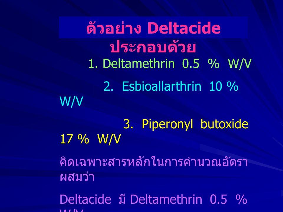 ตัวอย่าง Deltacide ประกอบด้วย