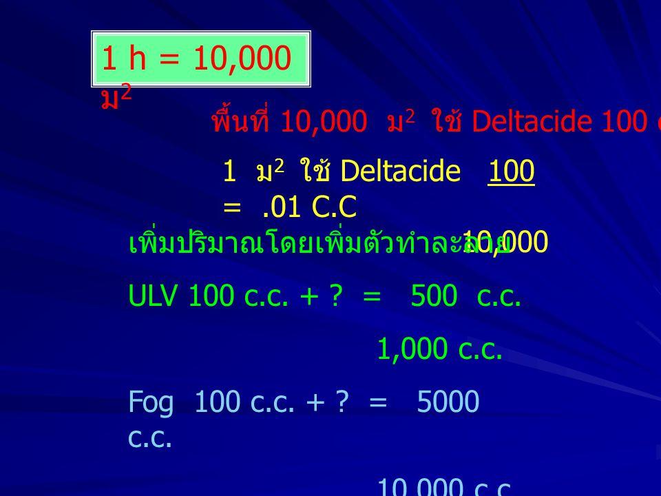 1 h = 10,000 ม2 พื้นที่ 10,000 ม2 ใช้ Deltacide 100 c.c