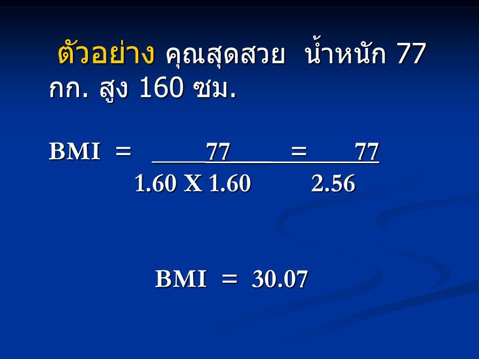 ตัวอย่าง คุณสุดสวย น้ำหนัก 77 กก. สูง 160 ซม. BMI = ____77___ = 77 1