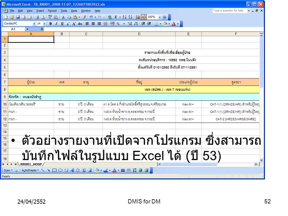 ตัวอย่างรายงานที่เปิดจากโปรแกรม ซึ่งสามารถบันทึกไฟล์ในรูปแบบ Excel ได้ (ปี 53)
