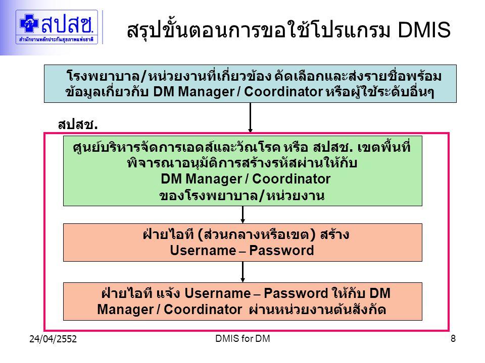 สรุปขั้นตอนการขอใช้โปรแกรม DMIS