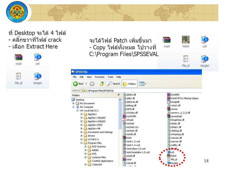 ที่ Desktop จะได้ 4 ไฟล์ - คลิ๊กขวาที่ไฟล์ crack. - เลือก Extract Here. จะได้ไฟล์ Patch เพิ่มขึ้นมา.