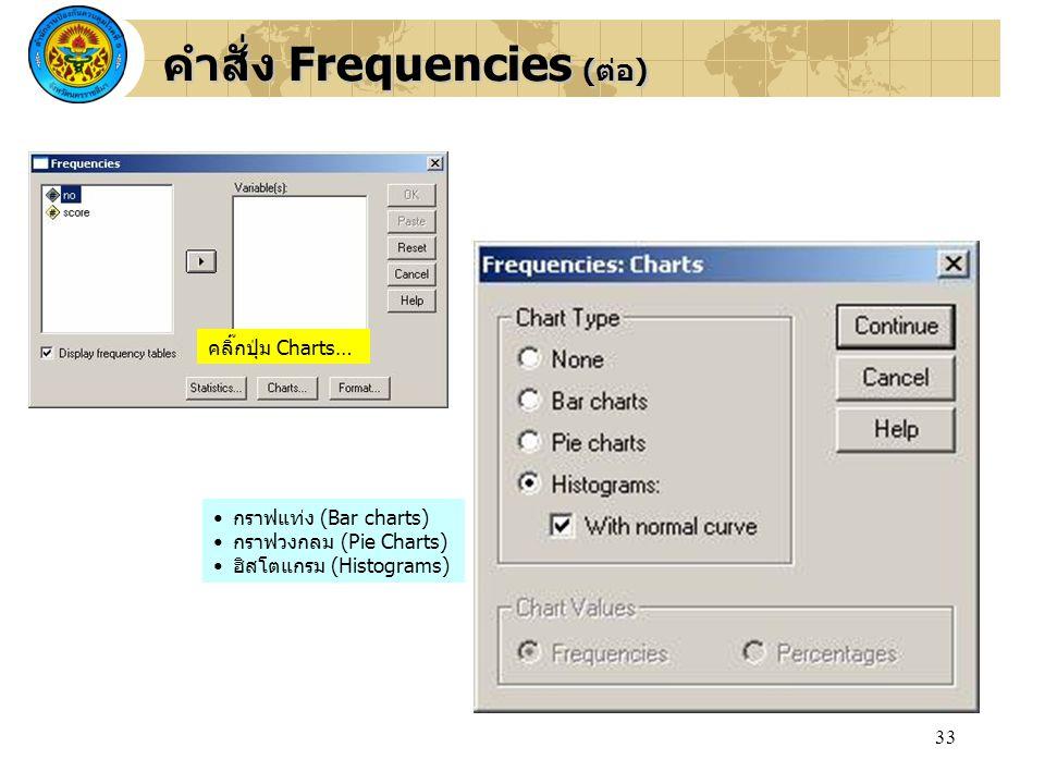 คำสั่ง Frequencies (ต่อ)