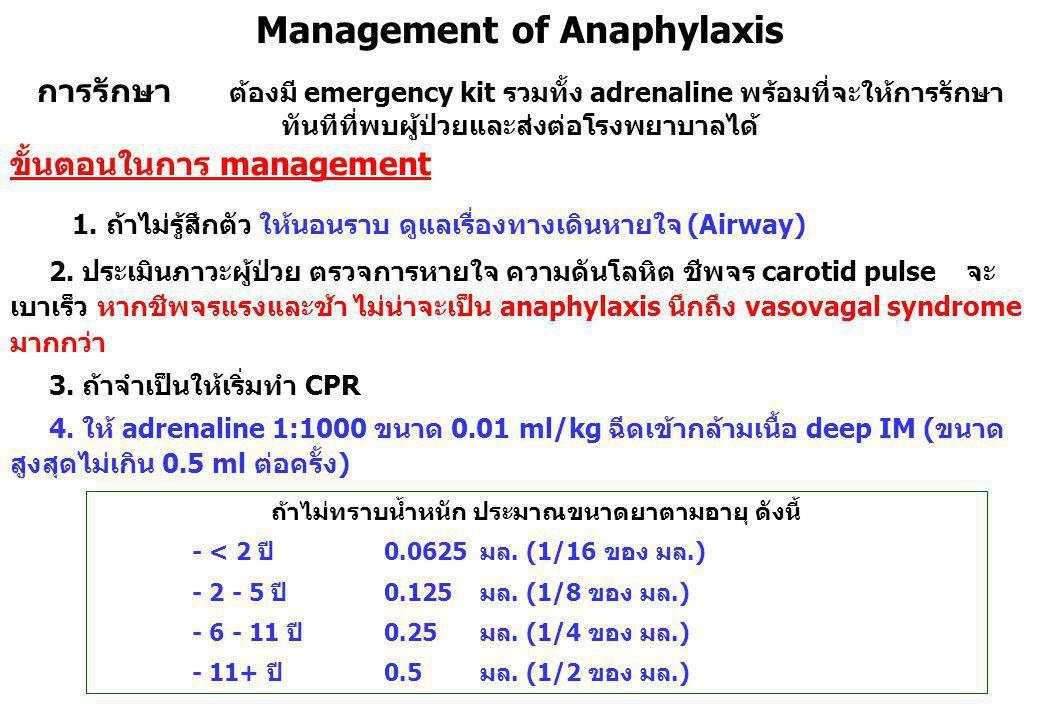 Management of Anaphylaxis ถ้าไม่ทราบน้ำหนัก ประมาณขนาดยาตามอายุ ดังนี้