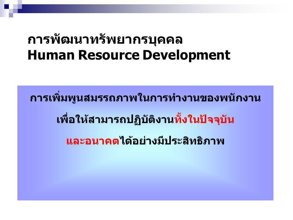 การพัฒนาทรัพยากรบุคคล Human Resource Development