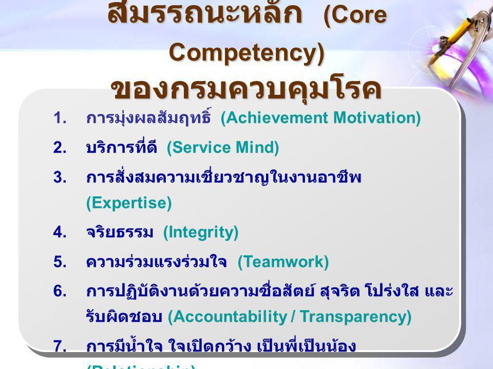 สมรรถนะหลัก (Core Competency) ของกรมควบคุมโรค
