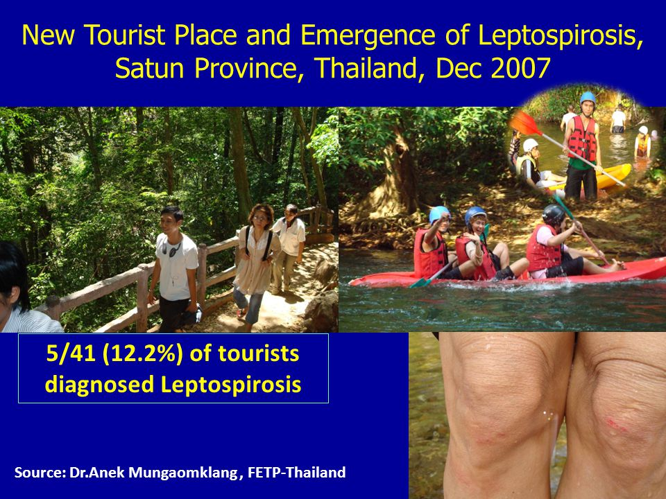 5/41 (12.2%) of tourists diagnosed Leptospirosis