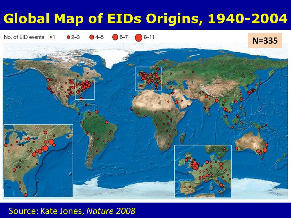 Global Map of EIDs Origins, 1940-2004