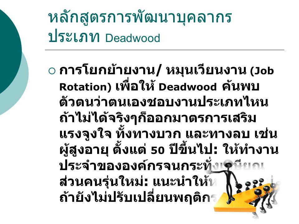 หลักสูตรการพัฒนาบุคลากรประเภท Deadwood