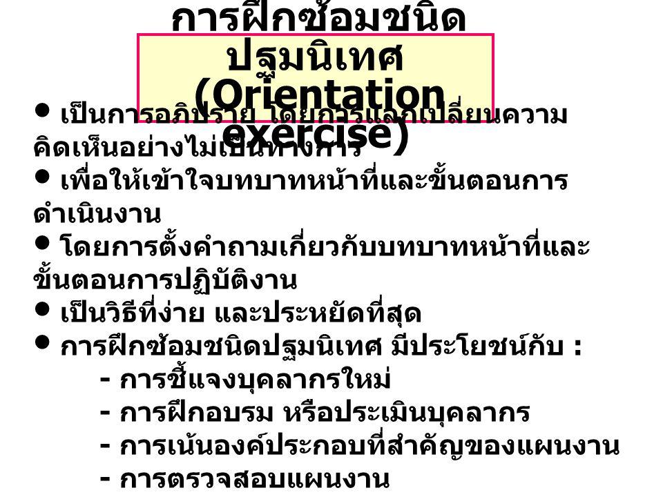 การฝึกซ้อมชนิดปฐมนิเทศ (Orientation exercise)