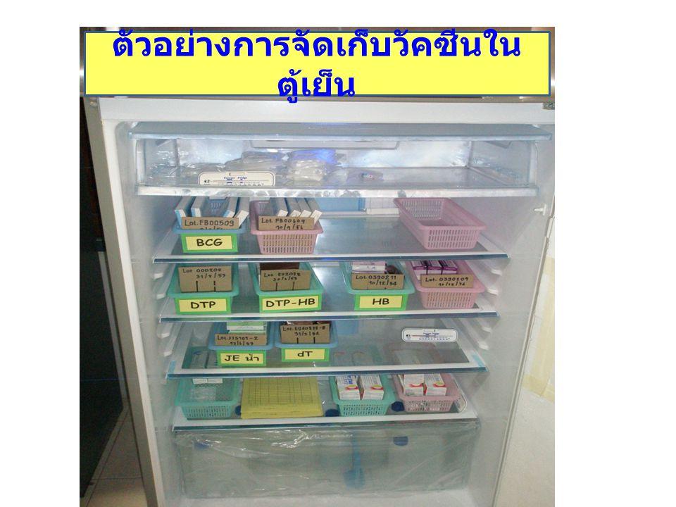 ตัวอย่างการจัดเก็บวัคซีนในตู้เย็น