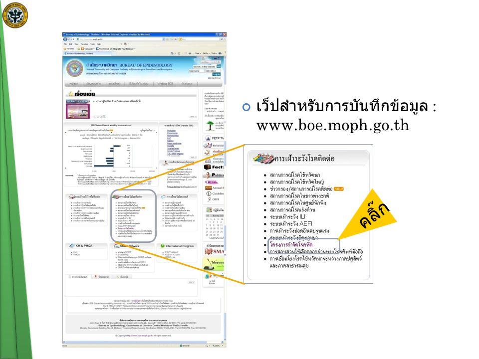 เว็ปสำหรับการบันทึกข้อมูล : www.boe.moph.go.th