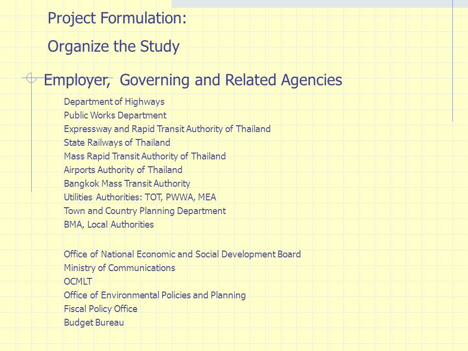 Employer, Governing and Related Agencies