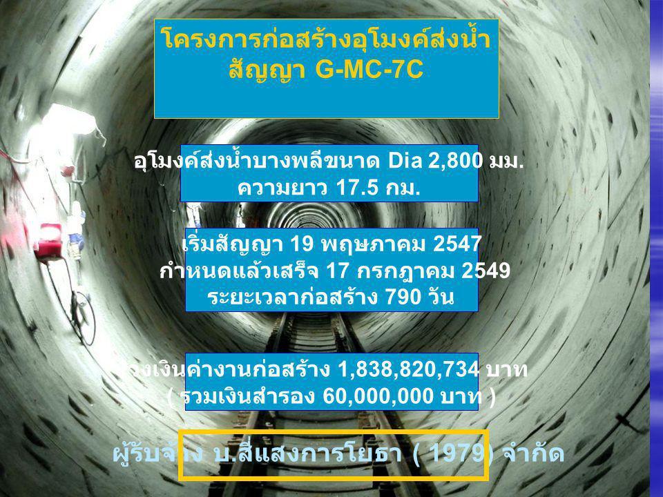 โครงการก่อสร้างอุโมงค์ส่งน้ำ สัญญา G-MC-7C