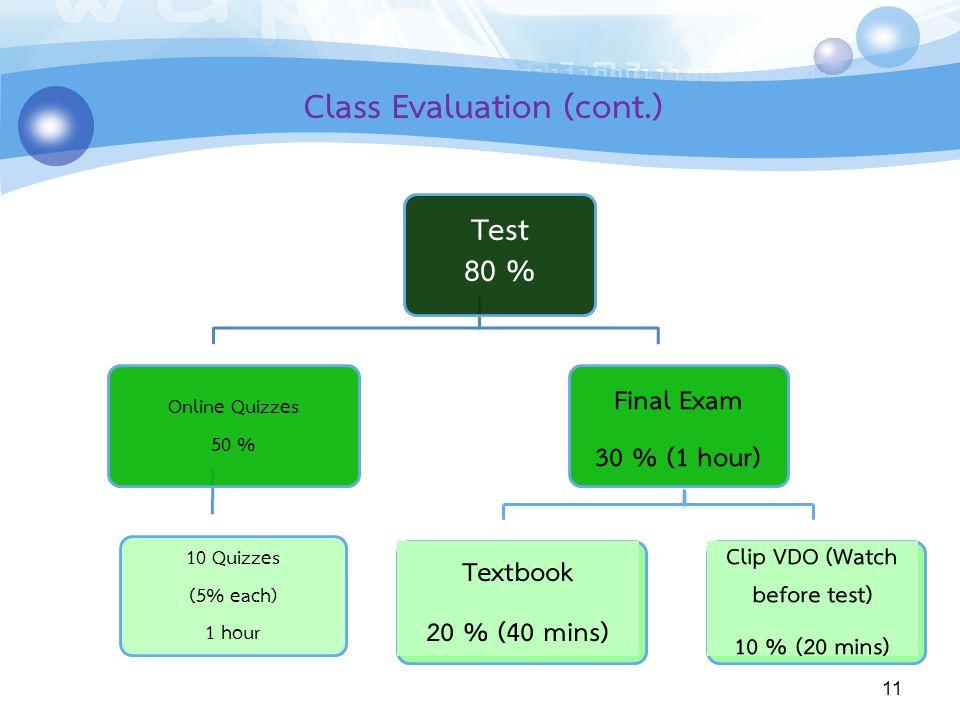 Class Evaluation (cont.)