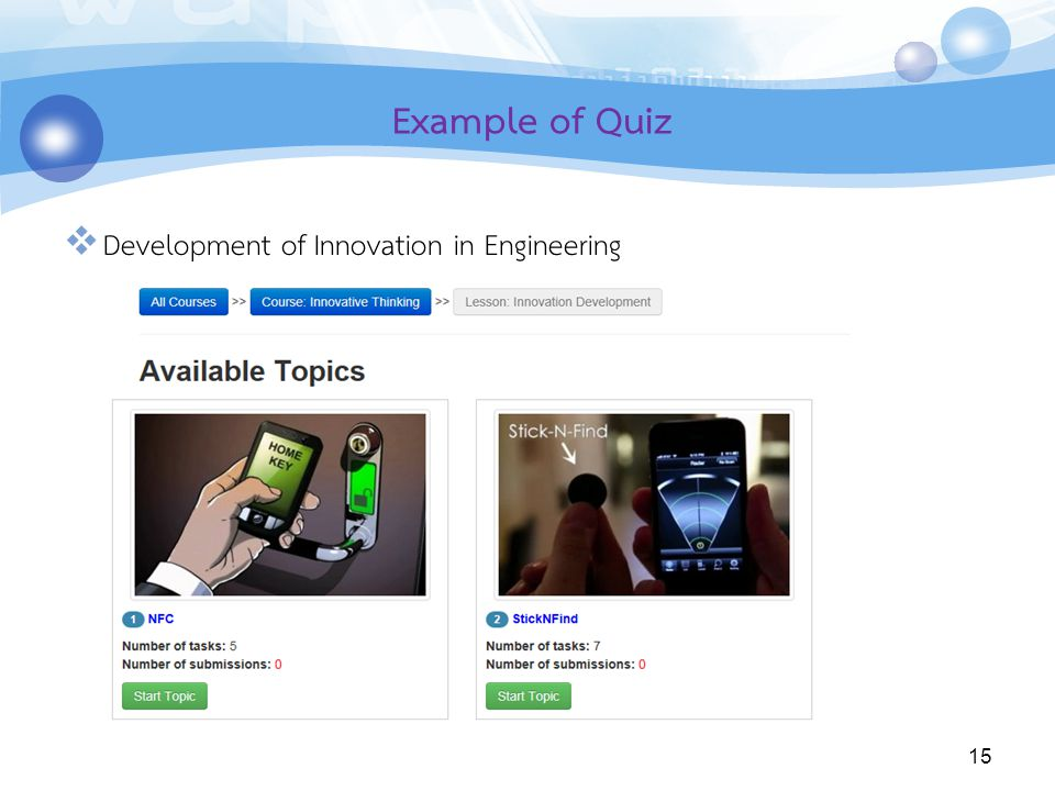 Example of Quiz Development of Innovation in Engineering