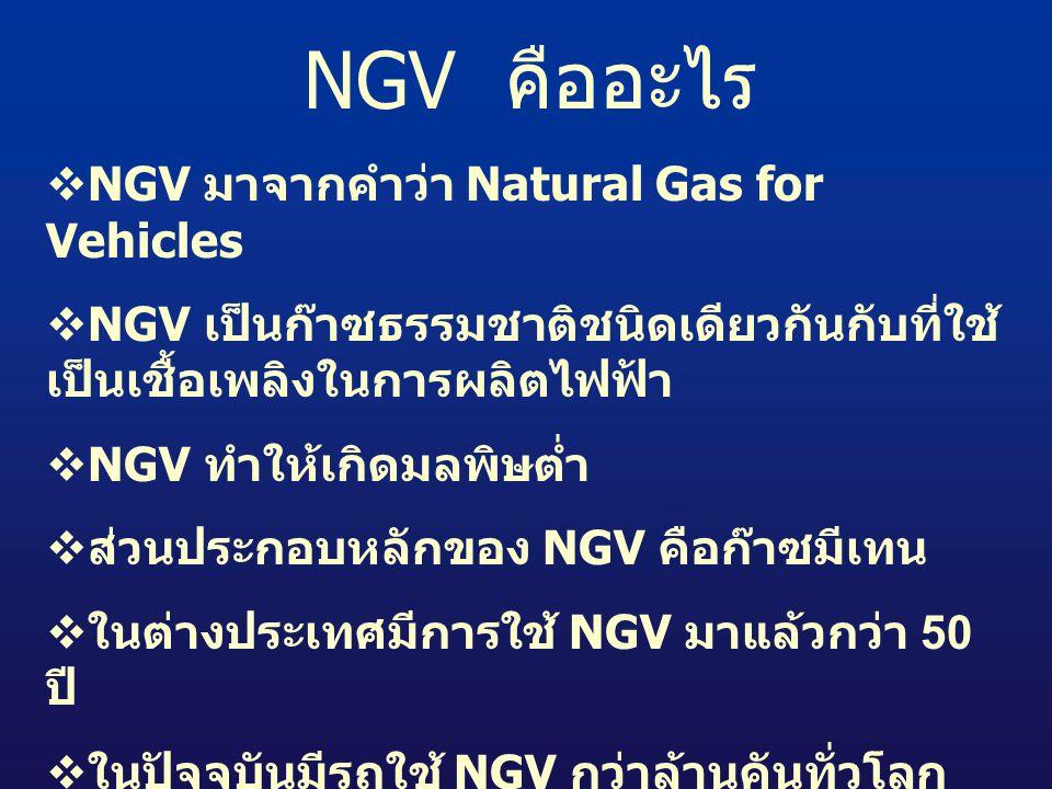 NGV คืออะไร NGV มาจากคำว่า Natural Gas for Vehicles