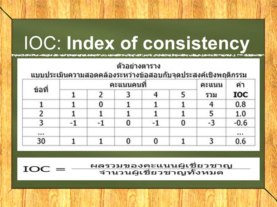 IOC: Index of consistency