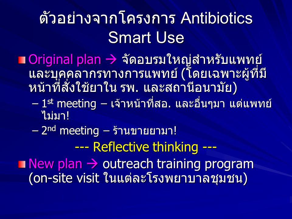 ตัวอย่างจากโครงการ Antibiotics Smart Use