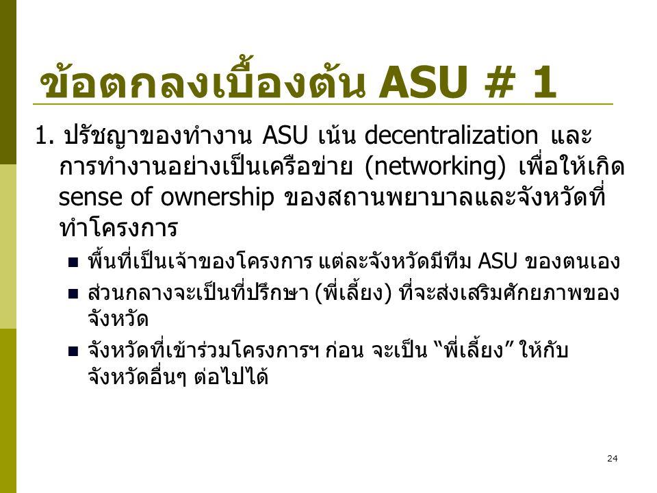 ข้อตกลงเบื้องต้น ASU # 1