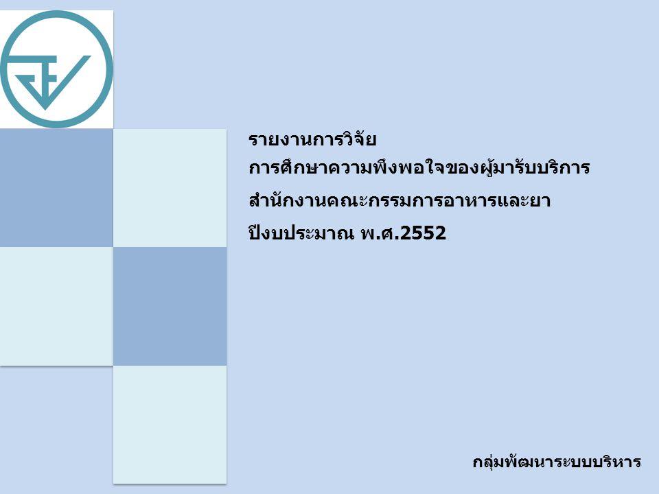 รายงานการวิจัย การศึกษาความพึงพอใจของผู้มารับบริการสำนักงานคณะกรรมการอาหารและยา ปีงบประมาณ พ.ศ.2552.