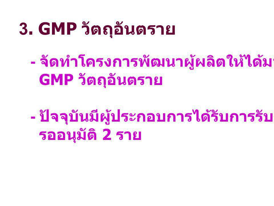 3. GMP วัตถุอันตราย - จัดทำโครงการพัฒนาผู้ผลิตให้ได้มาตรฐานตามหลักเกณฑ์ GMP วัตถุอันตราย. - ปัจจุบันมีผู้ประกอบการได้รับการรับรอง GMP รวม 13 ราย.