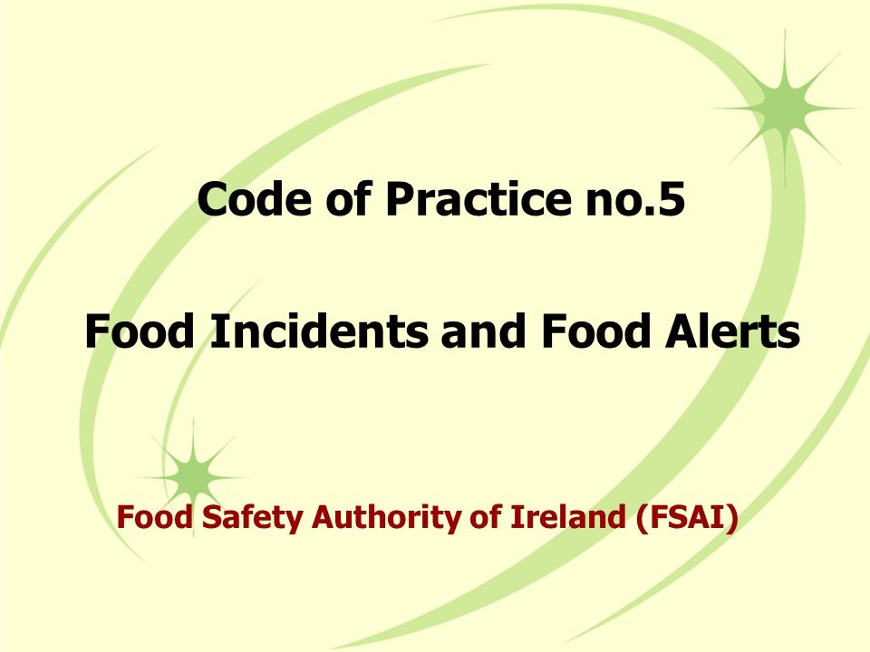 Code of Practice no.5 Food Incidents and Food Alerts