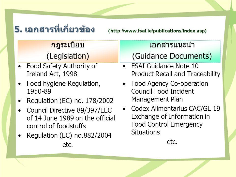 5. เอกสารที่เกี่ยวข้อง กฎระเบียบ (Legislation) เอกสารแนะนำ