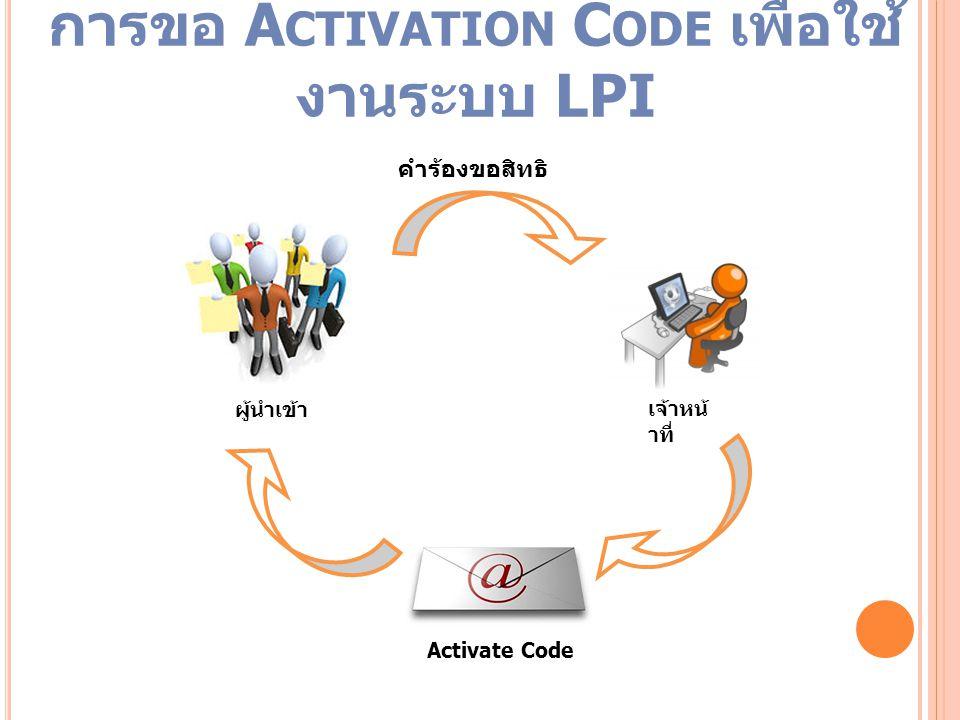 การขอ Activation Code เพื่อใช้งานระบบ LPI