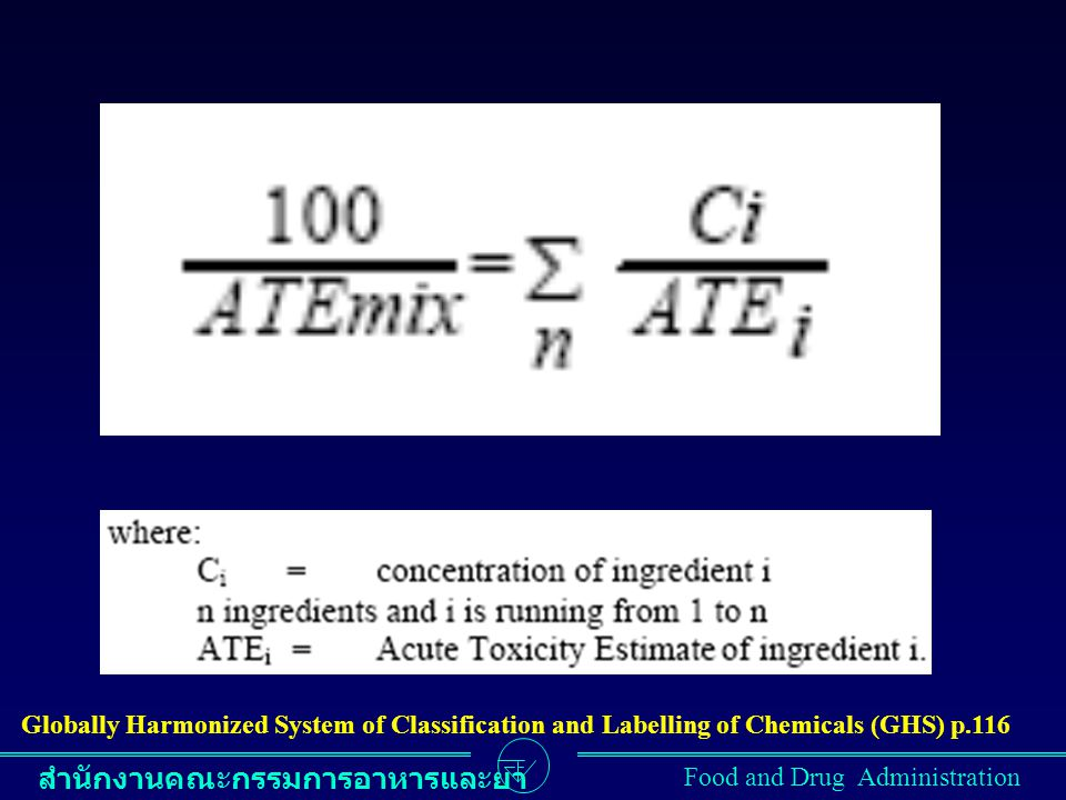 Globally Harmonized System of Classification and Labelling of Chemicals (GHS) p.116
