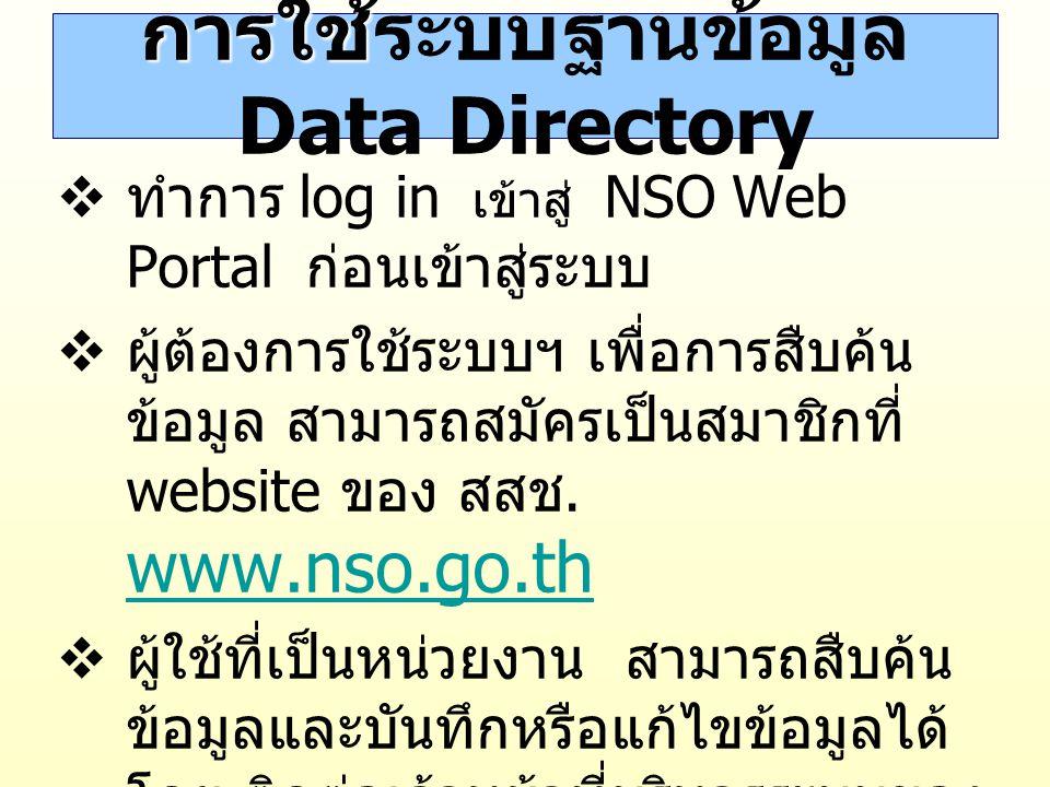 การใช้ระบบฐานข้อมูล Data Directory