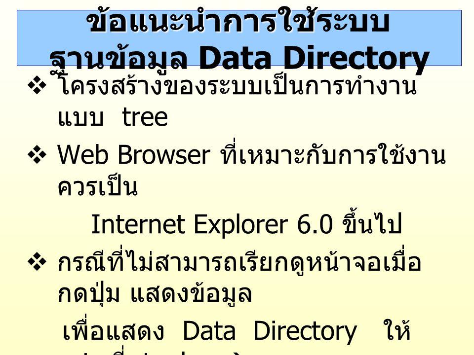 ข้อแนะนำการใช้ระบบฐานข้อมูล Data Directory
