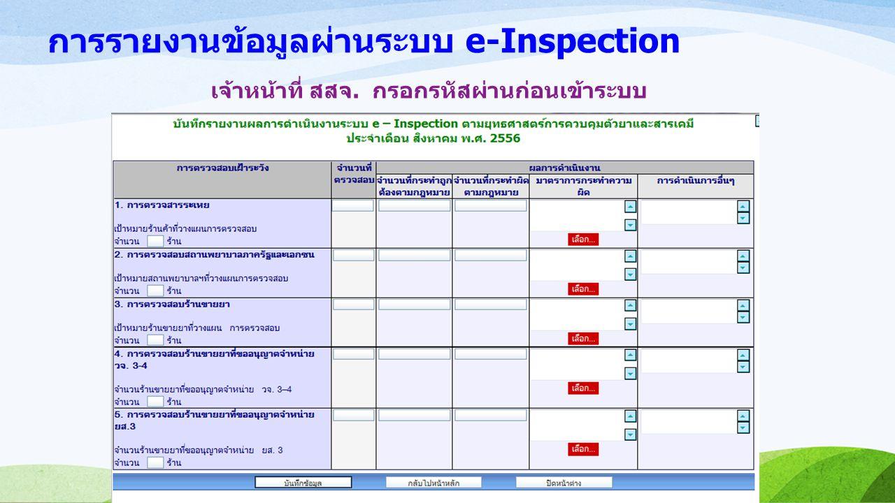 การรายงานข้อมูลผ่านระบบ e-Inspection