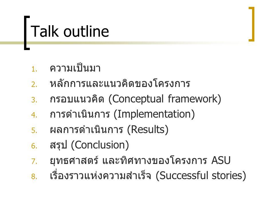 Talk outline ความเป็นมา หลักการและแนวคิดของโครงการ